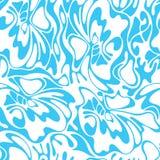 Vector overzeese van de kleuren naadloze werveling achtergrond Blauwe abstracte bloemen Stock Illustratie