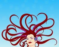Vector - Overzeese Vrouw stock illustratie
