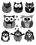Vector Owl Black color Stock Images