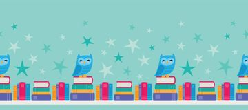 Vector Owl Bookshelf Seamless Border stock photography