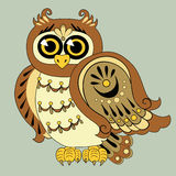 Vector Owl isolated on the gray background Royalty Free Stock Image