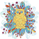 Vector owl and leaves Stock Photos