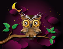 Vector of owl and moon. Vector of owl hang on the tree wih moon stock illustration