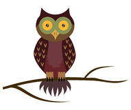 Vector owl sitting on branch. Isolated on white Stock Photography