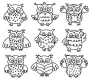 Vector owls cartoons. Royalty Free Stock Image