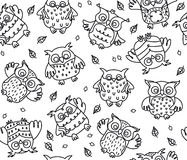 Vector owls cartoons seamless pattern isolated. Stock Photos