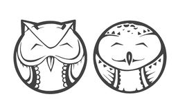Vector owls icons. For illustration or website Royalty Free Stock Image