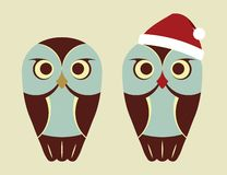 Vector Owls In Red Santa`s Hat Stock Image