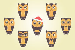 Vector Owls In Red Santa`s Hat. Owls with mustaches, beards and Royalty Free Stock Photo