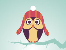 Vector Owls In Red Striped Hat With Bubo Royalty Free Stock Photos