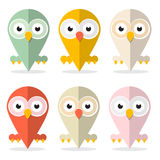 Vector Owls Set Illustration Stock Photography