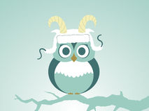 Vector Owls In Stylized Sheep Hat With Horns Stock Photos