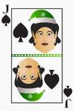 Vector pás fáceis simples do terno do cartão de jogo de Jack do Natal do duende em um destacável editável do fundo branco Imagens de Stock