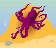 Vector púrpura del océano del pulpo Fotografía de archivo libre de regalías