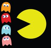 Vector Pac-Man with his enemies stock illustration