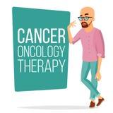 Vector paciente del hombre de la quimioterapia Varón enfermo con el cáncer Concepto médico de la terapia de la oncología tratamie ilustración del vector