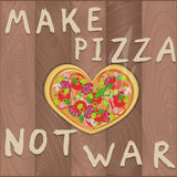Vector pacifist pizza on wooden background in flat style and heart shape and Make pizza not war text. Pizza design for romantic Royalty Free Stock Photo