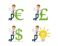 Vector pack of businessman lean on money icon and bulb. Ready to use website illustration or print illustration of businessman lean on money icon and bulb Stock Photo