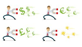 Vector pack of businessman with magnet attract money vector illustration
