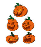 Vector pack - Halloween Pumpkins. Pack of 5 halloween pumpkins, in different faces and sizes Stock Photo