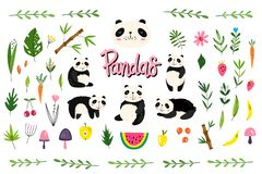 Vector pack with pandas, fruits and plants. Hand-drawn style. Scandinavian motives. Set of 45 elements royalty free illustration