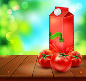 Vector pack of tomato juice with tomato standing on a wooden tab Royalty Free Stock Photos