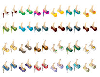 Vector Pack of twenty-four pairs of shoes for ladies. Stock Photography
