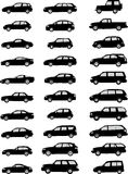 Car silhouettes pack. Vector pack with various car silhouettes Royalty Free Stock Photography