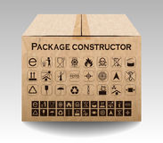 Vector package box  on white. Packaging symbols Stock Photos