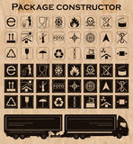 Vector package constructor. Packaging symbols Stock Images