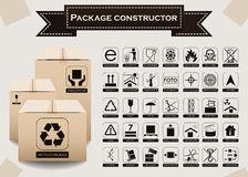Vector package constructor. Packaging symbols Royalty Free Stock Image