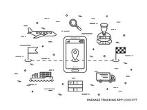 Vector package tracking linear illustration Stock Image