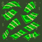 Vector packages of dollar banknotes in various angles. Pile of cash Isometric illustration royalty free stock images