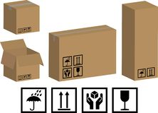 Vector packaging boxes and icons Stock Image