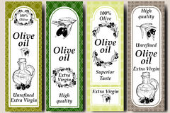 Vector packaging design elements and templates for olive oil labels and bottles - seamless patterns for background and stickers wi. Th logos. Hand drawn olive royalty free illustration