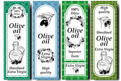 Vector packaging design elements and templates for olive oil labels and bottles - seamless patterns for background and stickers wi Royalty Free Stock Photography