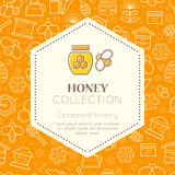 Vector packaging design - natural honey collection. Vector packaging template with seamless patterns. Natural honey collection (sorts of honey - creamed honey) stock illustration