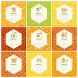 Vector packaging design - natural honey collection. Vector packaging template with seamless patterns. Natural honey collection (sorts of honey - forest honey stock illustration