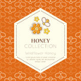Vector packaging design - natural honey collection. Vector packaging template with seamless patterns. Natural honey collection (wildflower honey). Warm color stock illustration