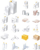 Vector packaging icon set. Set of blank boxes and bottles Stock Image