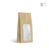 Vector Packaging Package Bag Isolated on White Background. Mock-up pack for coffee, tea, sugar, pepper or spices, filled, folded. Template for your design and Stock Photo