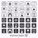 Vector packaging symbols on  grunge background. Shipping icon set including recycling, fragile, the shelf life of the produc Royalty Free Stock Photography