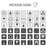 Vector packaging symbols on white background. Shipping icon set including recycling, fragile, the shelf life of the product, flamm. Able, non-toxic material stock illustration