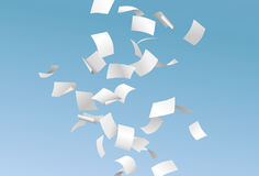 Vector pages or documents flying down in the wind with blue sky. In the background royalty free illustration