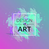 Vector paint brush background with square frame and text design of art. Abstract cover graphic green and pink color. Royalty Free Stock Photography