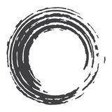 Vector paint brush circle stroke. Abstract Japanese style hand drawn ink round vector illustration