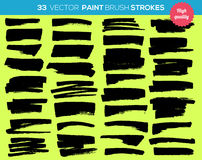 33 vector paint brushes. Ink strokes, paint splash Stock Image