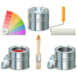 Vector Paint Can and Brush Icons. On white background Royalty Free Stock Photo