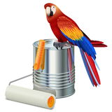 Vector Paint Can with Roller Brush and Parrot Royalty Free Stock Photos