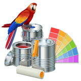 Vector Paint Cans with Parrot. Isolated on white background Stock Image